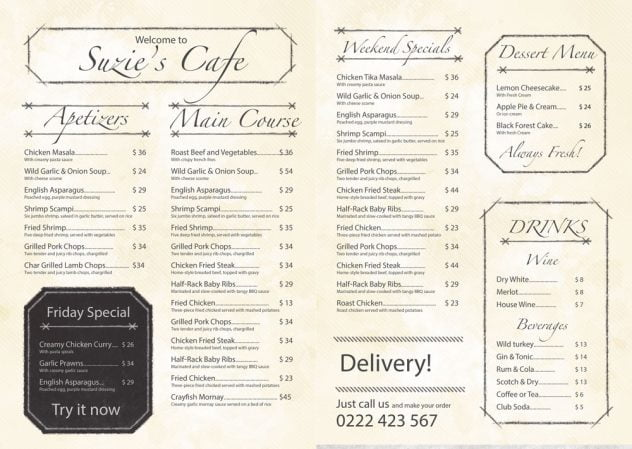 menu mockup inside Suzies cafe